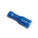 Cosse électrique isolée ronde femelle 5mm bleu en sachet de 5