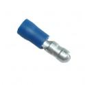 Cosse électrique isolée ronde mâle 5mm bleu en sachet de 5