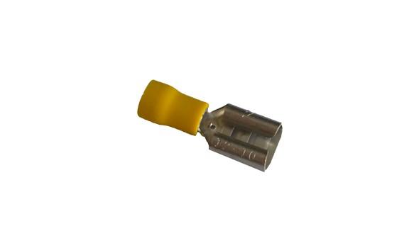 Cosse électrique plate faston 9.5mm Jaune en sachet de 5