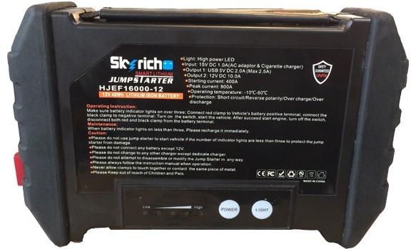 Booster auto Lithium 12V 900A JUMPSTARTER Skyrich